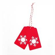 20 Geschenkanhänger Weihnachtsbaum Deko Anhänger - rot Schneeflocke