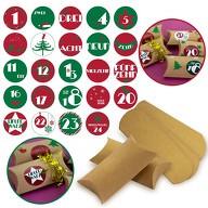 DIY Adventskalender Set - 24 Boxen Schachteln + 24 Zahlen Stickern Aufkleber für Weihnachten Advent