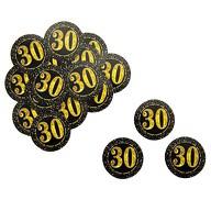 Konfetti Zahl 30 Geburtstag Jubiläum Hochzeitstag Tisch Deko Streudeko - schwarz gold