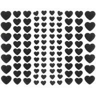 106 Herz Sticker Aufkleber Set mit Glitzer Scrapbooking Basteln Hochzeit Valentinstag Deko schwarz