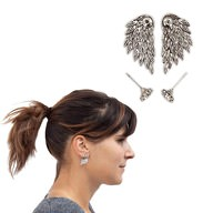 Engelsflügel Ohrringe 2 Stk Ohrstecker Engel Flügel Metall Damen silber