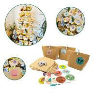 DIY Adventskalender Set - 24 Tüten + 24 Zahlen Sticker Aufkleber + 24 weiße Klammern für Advent Weihnachten