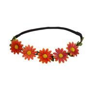 Blumen Haarband Stirnband Haarschmuck Bohemia Kopfschmuck Blumenkranz - orange