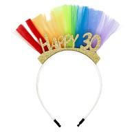 Haarreif Haarreifen 30. Geburtstag Party Happy 30 Gold mit Glitzereffekt und Tüll für Frauen - bunt