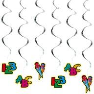 6 Deckenhänger Wirbel Spiral Girlande für Schuleinführung Einschulung 123 ABC Zuckertüte