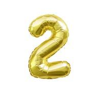 1x Folien Luftballon mit Zahl 2 Geburtstag Jubiläum Party Deko Ballon - gold