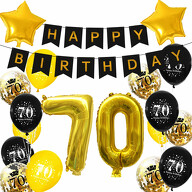70. Geburtstag Party Deko Set - Happy Birthday Girlande + Zahl 60 Ballons + Konfetti Luftballons