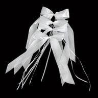 10 Antennenschleifen Hochzeit Deko Schleifen 12 cm - weiß grün