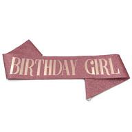 Schärpe Birthday Girl mit Glitzereffekt für Geburtstag Feier Party Accessoire Damen Frauen roségold
