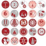 24 Adventskalender Sticker Zahlen Aufkleber Weihnachten Basteln - rot