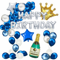 Happy Birthday Geburtstag Deko Set - Champagner Flasche Krone Happy Birthday Folienballon Girlande uvm.