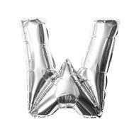 Folien Luftballon Buchstabe W Geburtstag Silber Hochzeit Party Deko Ballon - silber
