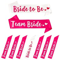 Schärpe Bride to Be + Team Bride Set JGA Hen Party Herz weiß pink