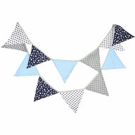 Wimpel Girlande Wimpelkette Banner Vintage Kinder Geburtstag - blau grau