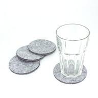 4 Filz Untersetzer Glasuntersetzer rund - weiß grau