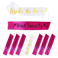 Schärpe Bride to be + Braut Security Set JGA Hen Party weiß pink