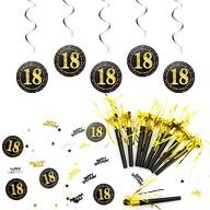 18. Geburtstag Party Feier Deko Set - Tröten + Deckenhänger Wirbel Spiral Girlanden + Konfetti