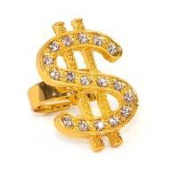 Goldener Dollar Ring Karneval Fasching Rapper Gangster Millionär Kostüm