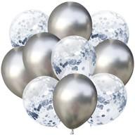 Konfetti Luftballon Set 10 Stk. Geburtstag Hochzeit Silberhochzeit silber