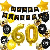 60. Geburtstag Party Deko Set - Happy Birthday Girlande + Zahl 60 Ballons + Konfetti Luftballons