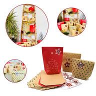 DIY Adventskalender Set - 24 Tüten + 24 Zahlen Sticker Aufkleber in Stern Form für Advent Weihnachten