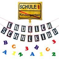 Schuleinführung Schulanfang Einschulung Deko Set - Endlich Schulkind Girlande + Ballon + Konfetti
