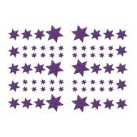 68 Sterne Sticker Aufkleber Glitzernd Funkelnd Weihnachtsdeko Weihnachtssterne - lila