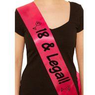 Schärpe 18 Geburtstag 18 & Legal Band Party Feier pink