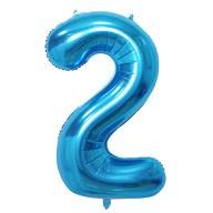 1x Folien Luftballon mit Zahl 2 Kinder Geburtstag Jubiläum Party Deko Ballon blau
