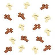 18 Holz Kreuze + Fisch Symbol Streudeko Taufe Kommunion Konfirmation