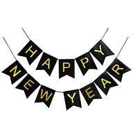 Happy New Year Wimpel Girlande Banner Wimpelkette Silvester Neujahr Party Feier Deko schwarz gold