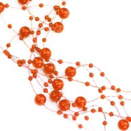 Perlenschnur Perlen Girlande Tisch Deko Hochzeit Jubiläum - orange