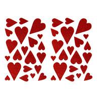 42 Herz Aufkleber Herzen Sticker Set mit Glitzer Scrapbooking Geburtstag Valentinstag - rot