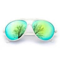 Pilotenbrille Sonnenbrille Herren Damen Flieger transparent blau gold