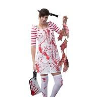 Horror Halloween Kostüm Accessoire Set - Haarreif + Schürze + Strumpfhose + Girlande