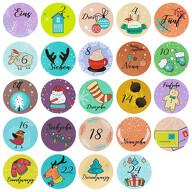 24 Adventskalender Sticker Zahlen Aufkleber weihnachtliche Motive Weihnachten Basteln Weihnachtsdeko