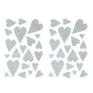42 Herz Aufkleber Herzen Sticker Set mit Glitzer Scrapbooking Geburtstag Valentinstag - silber