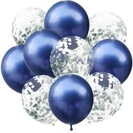 Konfetti Luftballon Set 10 Stk Geburtstag Party Hochzeit JGA Baby Shower Deko blau silber