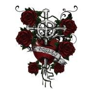 Temporäres Tattoo Klebetattoo Tättowierung - Heart Cross Roses
