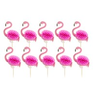 10 Flamingo Holz Spieße Partyspieße Cocktailspieße Picks Cocktail Picker für Sommer Hawaii Party Deko