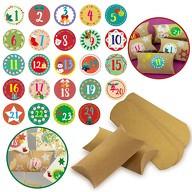 DIY Adventskalender Set - 24 Boxen Schachteln + 24 Zahlen Sticker Aufkleber für Weihnachten Advent