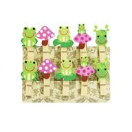 10 Mini Wäscheklammern Holz Miniklammern Deko Klammern - Frösche