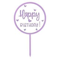 Torten Topper Kuchen Muffin Cupcake Aufsatz Happy Birthday Kinder Geburtstag Jubliäum Deko - lila