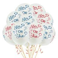 He Or She? Luftballon Set 10Stk Baby Shower Party Deko Feier - weiß