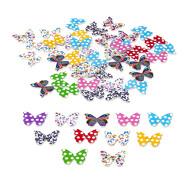 50x Holz Knöpfe Schmetterlinge Kinderknöpfe Buttons Nähen Kleidung Basteln Spielen Deko