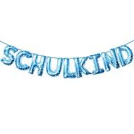 Schulkind Folienballon Girlande Schuleinführung Einschulung Schulanfang Feier Deko blau mit Sternen