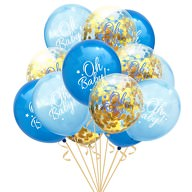 Konfetti Luftballon Set für Baby Shower Party Junge 15 Deko Ballons blau gold