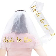 JGA Hochzeit Party Accessoire Set - Bride to Be Schärpe + Haarkamm mit Brautschleier weiß gold