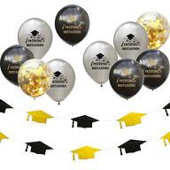 Prüfung bestanden Party Deko Set - Girlande + Konfetti Luftballon Set Schulabschluss Abi Abschluss