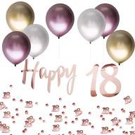 18. Geburtstag Jubiläum Party Deko Set - Happy 18 Girlande + Luftballons + Konfetti Zahl 18